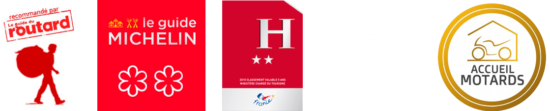 logos guide routard guide michelin meilleure offre à l'hôtel et accueil motards